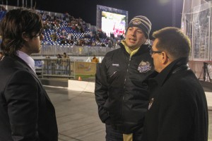HERSHEY, PA - Washington Capitals defenseman Mike Green (left) speaks with former teammate Louis Robitaille and Hershey Bears GM Doug Yingst at the 2013 AHL Outdoor Classic (Kyle Mace - Sweetest Hockey on Earth)